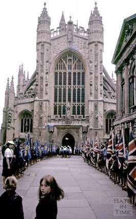 Bath Girl guides guard of honour outside the Abbey West Door, c.1970s
