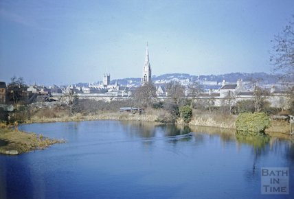 View of Bath across the basin at Sydney Buildings on the Kennet and Avon Canal, Bath c.1960