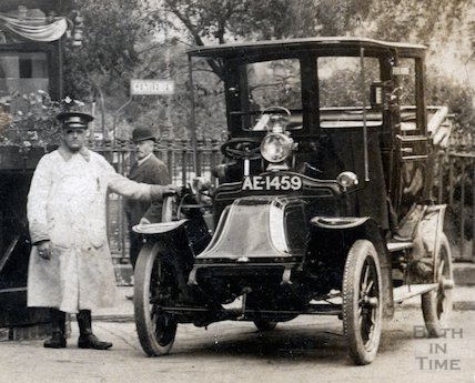 Bath Taxi and driver at Orange Grove, Bath, May 1910