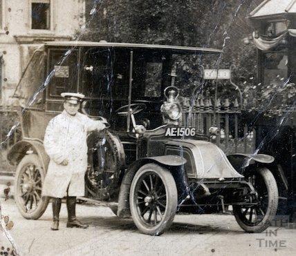 Bath Taxi and driver at Orange Grove, Bath, May 1910