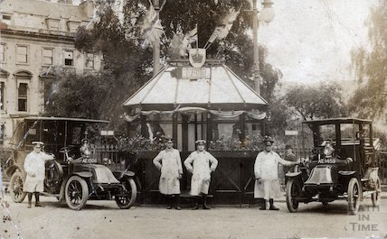 Bath Taxi drivers with their cabs on Orange Grove, May 1910