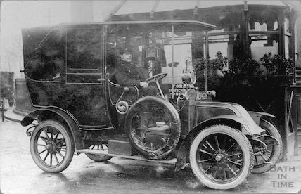 Taxi and driver at Orange Grove, c.1910