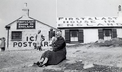 Outside the First & Last House in England, Lands End, c.1940s