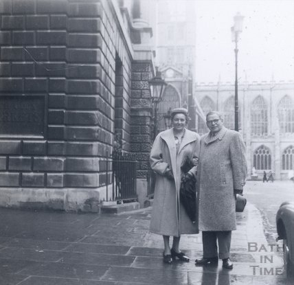 Outside the Guildhall Markets entrance, Bath, c.1940s