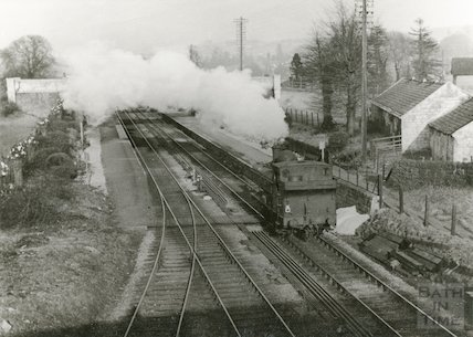 A steam train engine at Bathampton Station c.1950s