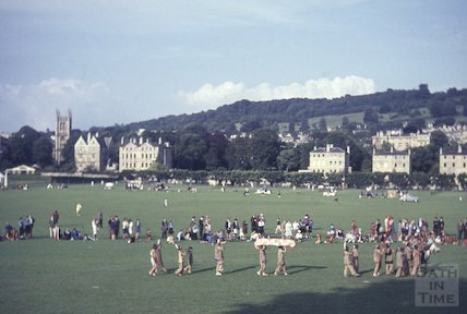 Bath girl guides dressed as Native Americans on the Recreation Ground, c.1960s