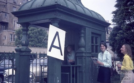 Bath girl guides at the historic turnstile at the Recreation Ground, Bath, c.1960s