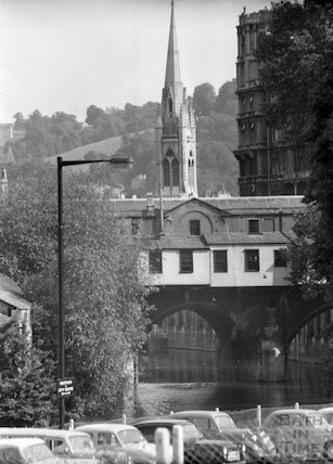 The rear of Pulteney Bridge and Northgate Street car park, Bath, c.1960s