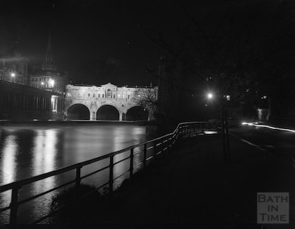 Pulteney Bridge floodlit and night time, c.1960