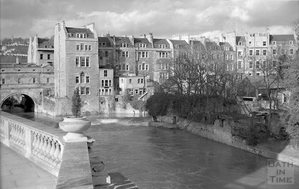 View of the ruined Bathwick Mill from Grand Parade, c.1960s
