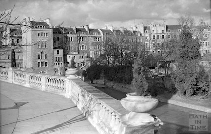View of the ruined Bathwick Mill and Pulteney Bridge from Grand Parade, c.1960s