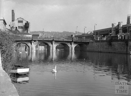 The riverside at Broad Quay, looking toward the Old Bridge, Bath, c.1957