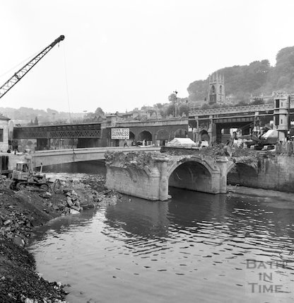 The demolition of the Old Bridge, Bath, c.1964