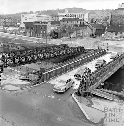 The temporary Wessex Bailey Bridge over the river Avon at Bath, 20 May 1963