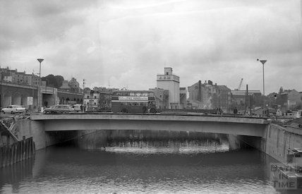 The first vehicles over Churchill Bridge, 1 October 1965