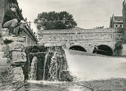 Fishing on the Pulteney Weir, Bath c.1960