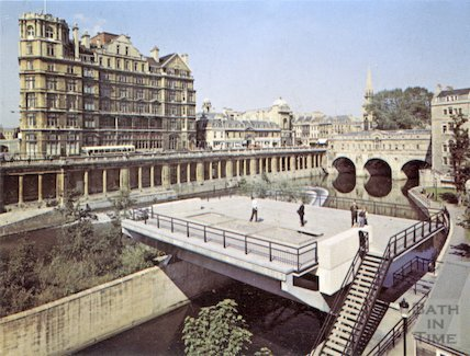 Image from the council prospectus to develop the platform on top of the Pulteney Sluice, 1973