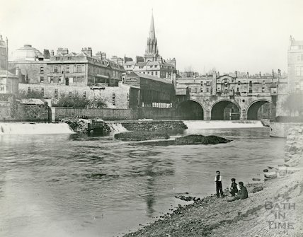 View Pulteney Bridge and Potato Market, Bath, c.1880