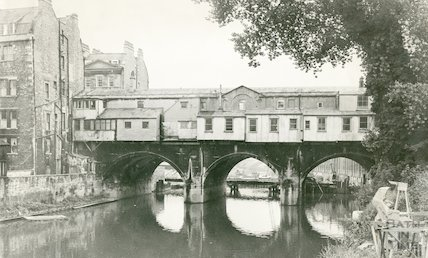 Rear of Pulteney Bridge, Bath, 31 August 1971
