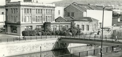 The rear of Electricity House and the footbridge, Bath 1 November 1982