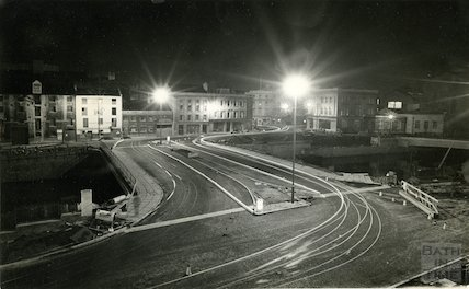 The newly constructed Churchill Bridge at night time, October 1965