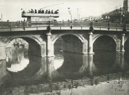 A tram crossing the Old Bridge, Bath, c.1890s