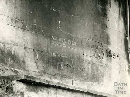 Bath's high water marks from flooding, Widcombe, c.1970s?