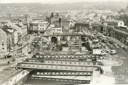 The Wessex Bailey Bridges, Old Bridge and a view up the River towards Bath Spa Station, 1964