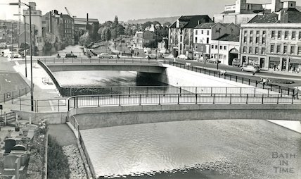 The newly constructed Churchill Bridge and old Broad Quay, c.1968