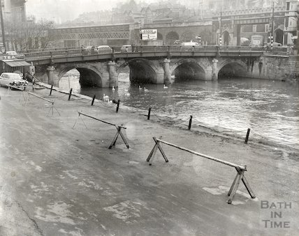 Broad Quay, Bath and the Old Bridge, c.1960