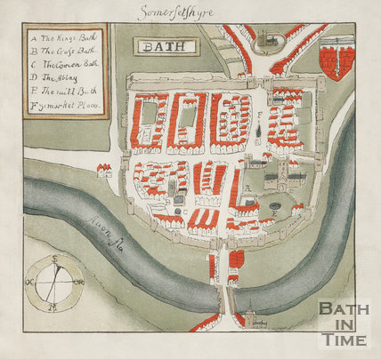 Very early watercolour map of Bath, Somersetshire, 1588