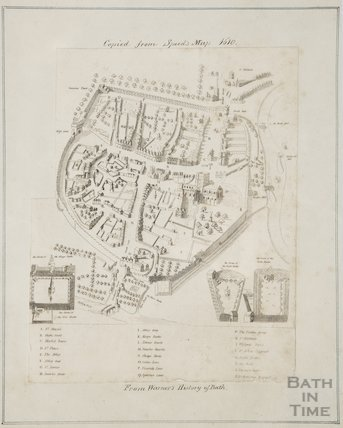 Map copied from John Speed's Map of Bath 1610
