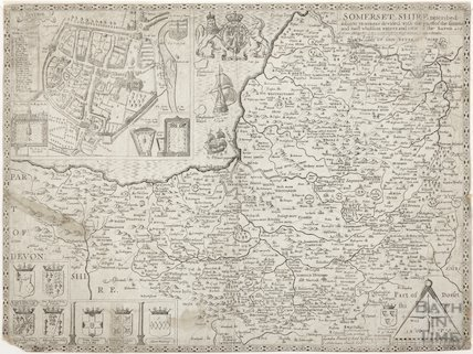 John Speed's Map of Bath and Somersetshire 1610