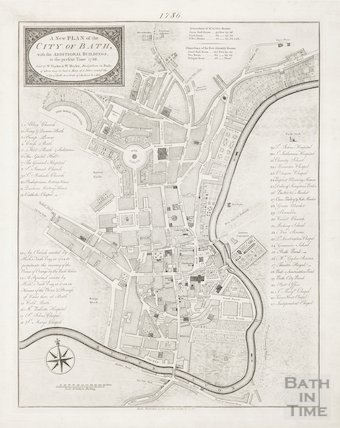 1786 A New and Plan of the City of Bath, with the additional buildings to the present time