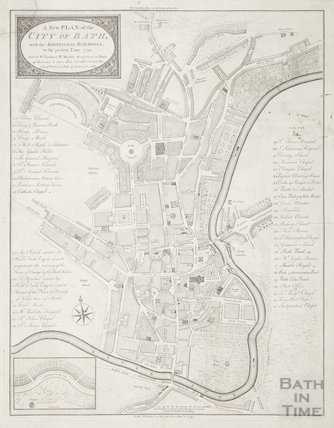 1792 A New Plan of the City of Bath, with the additional buildings to the present time
