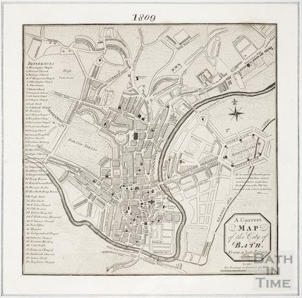 A New and Correct Plan of the City of Bath 1809