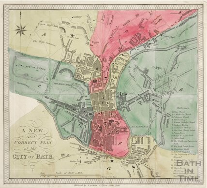 A New and Correct Plan of the City of Bath 1836