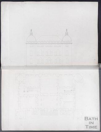 Elevation and floor plan by John Wood the elder, possibly of the Great House, Kelston, c.1750s