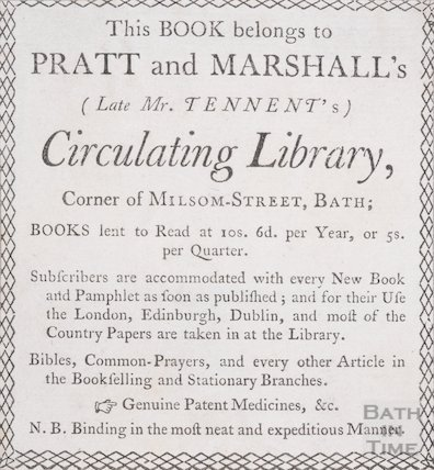 Trade card from Pratt and Marshall's Circulating Library, c.1790s