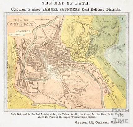 Plan of the City of Bath coloured to show Samuel Saunders' Coal Delivery Districts 1850?