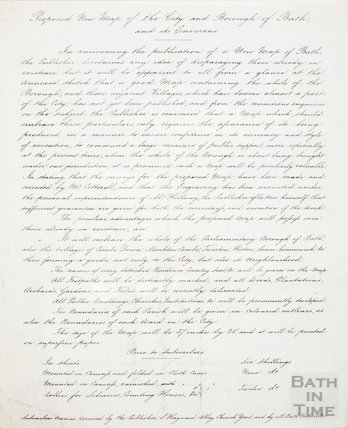 Text regarding the proposed new map of Bath and its borough c.1850