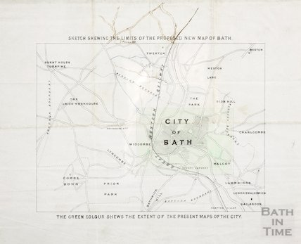 Sketch showing the limits of the proposed new map of Bath c.1850