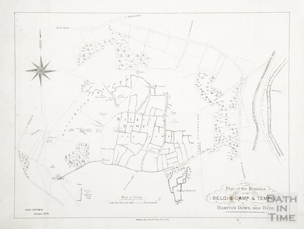 Plan of the remains of the Belgic Camp & Temple at Hampton Down, Bathampton, near Bath c.1860
