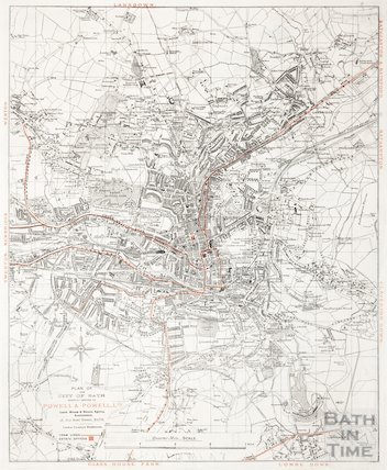Plan of the City of Bath showing offices of Powell & Powell Ltd. 1904-1918