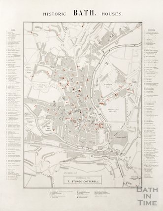 Map of Bath showing Historic Bath Houses c.1900