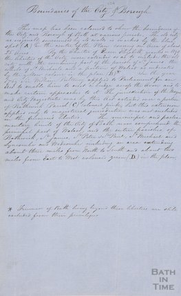 Handwritten passage regarding the boundaries of the Bath City Borough c.1850?