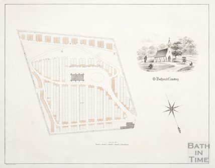 Map of Bathwick Cemetery c.1855