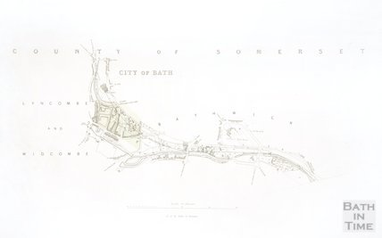 Map of Bath showing the propoed route of the Great Western Railway c.1835?