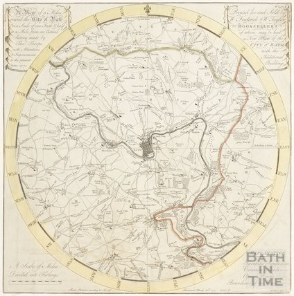 A Plan of 5 Miles Round the City of Bath 1771