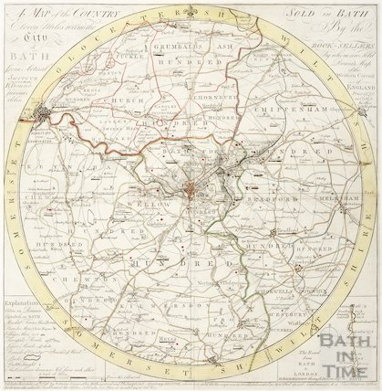 A Map of the Country Eleven Miles Round the City of Bath 1796